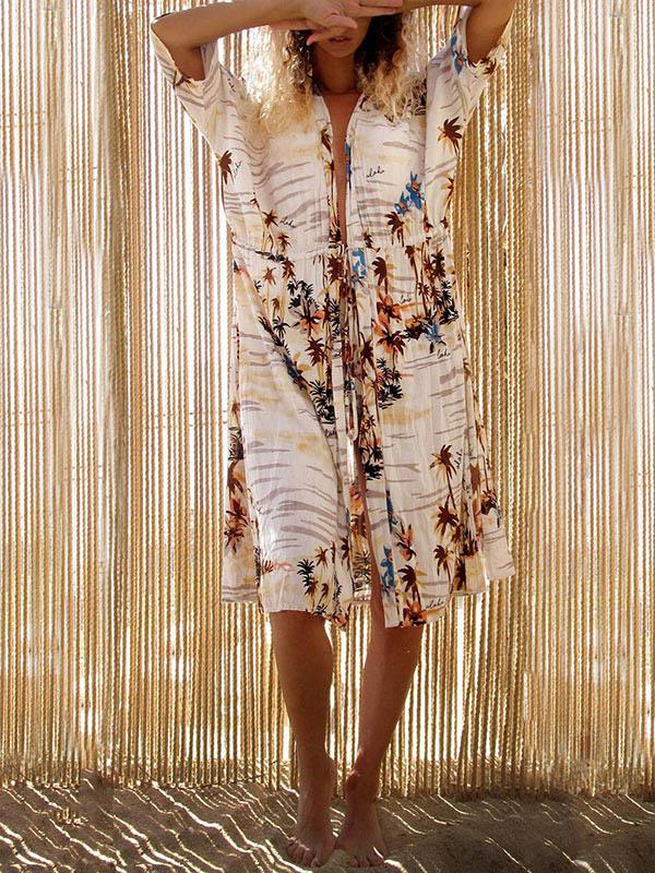 Floral Printed Lace-up Beach Cover-ups