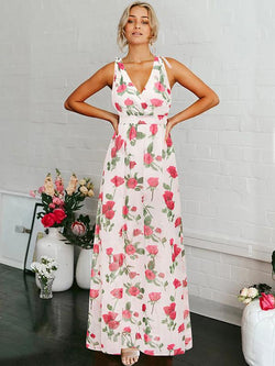 Floral Halterneck V-neck Bohemia Maxi Dress