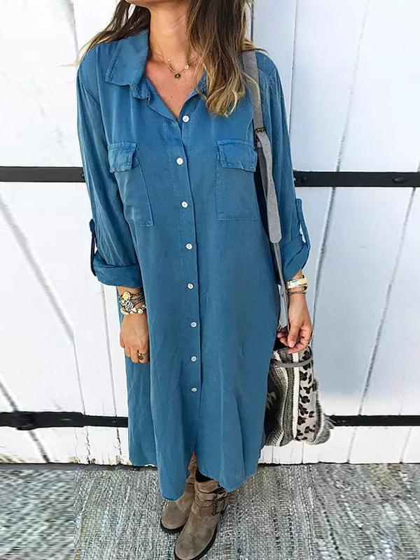Bohemia Solid Color Shirt Midi Dress