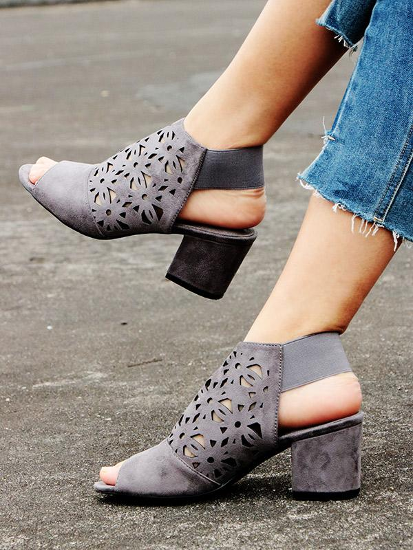 Gray Hollow Chunky Mid Heels