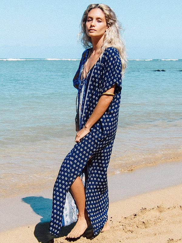 Floral V-neck Cover-ups Beach Maxi Dress