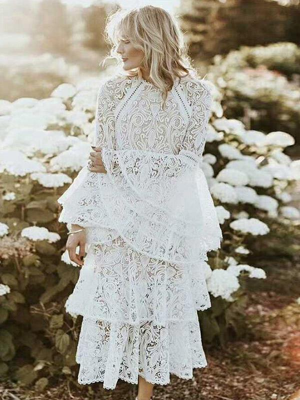Lace Flared Sleeves Tiered Falbala Midi Dress