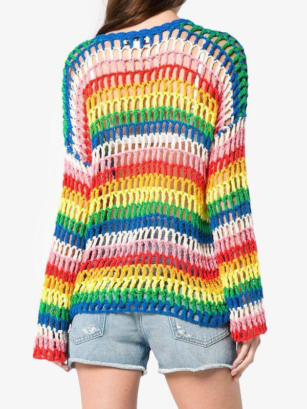 Rainbow Hollow Knitting Loose Sweater