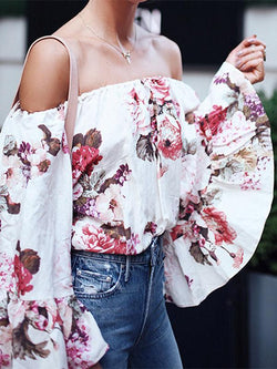 Off-the-shoulder Floral Flared Sleeves Loose Blouses&shirts Tops