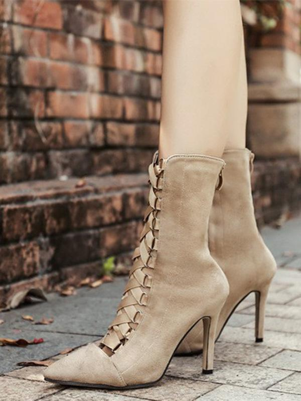 Bandage Hollow High Heel Booties