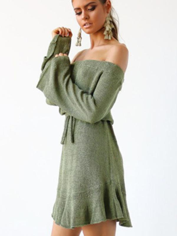 Off-the-shoulder Bandage Puff Sleeves Mini Dress