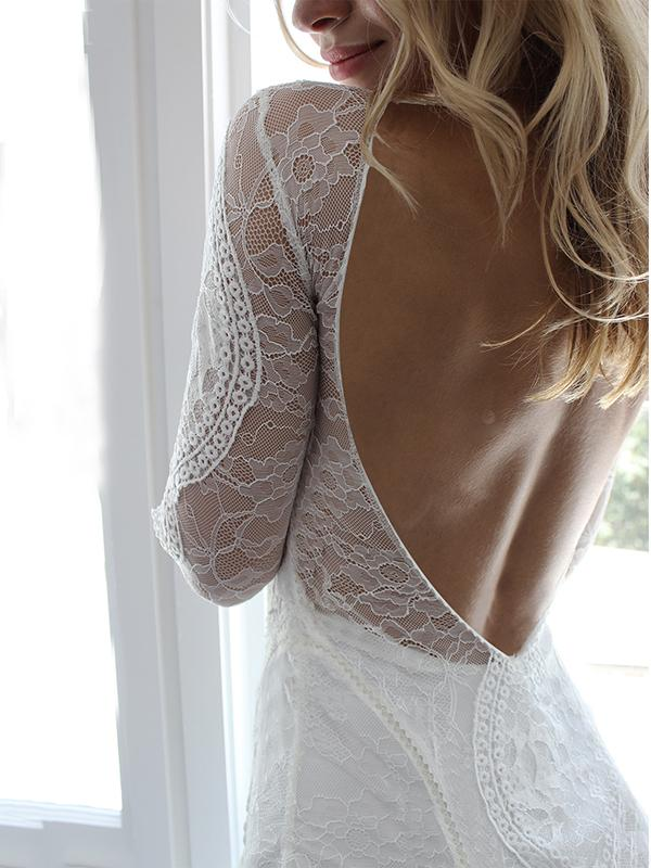 Lace Split-joint Backless See-through Evening Dress