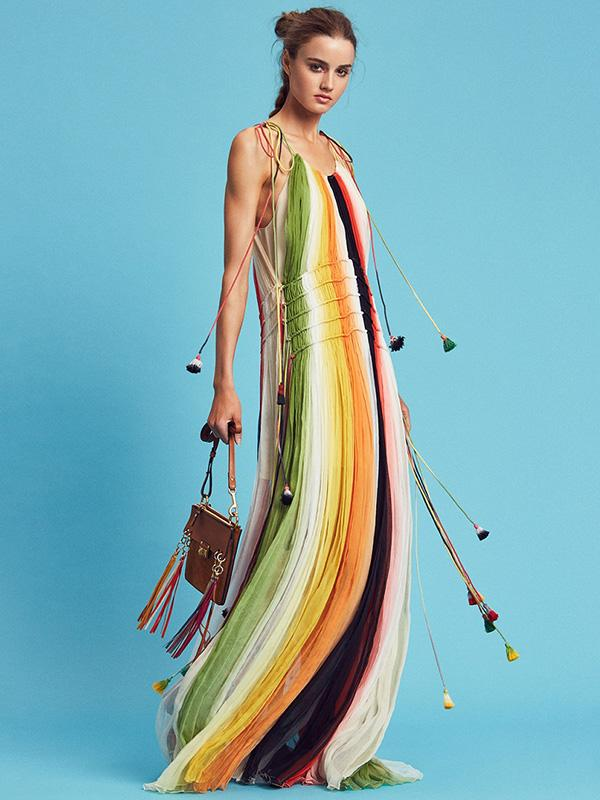 Rainbow Printed Maxi Dress