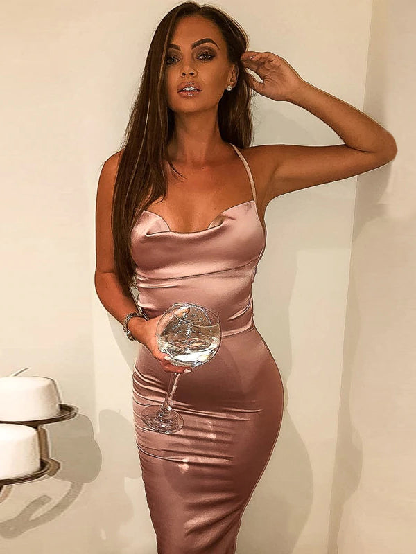 Summer Sexy Satin Sleeveless Bandage Backless Elegant Hollow Out Long Party Dress Vestidos
