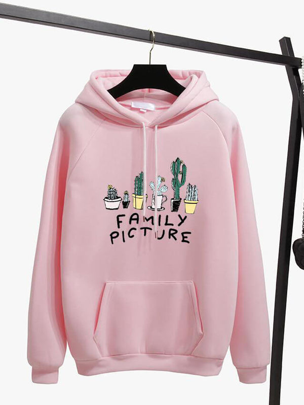 New Fashion Corduroy Long Sleeves Letter Harajuku Print Light Pink Pullovers Tops O Neck Womens Hooded Sweatshirt Tops