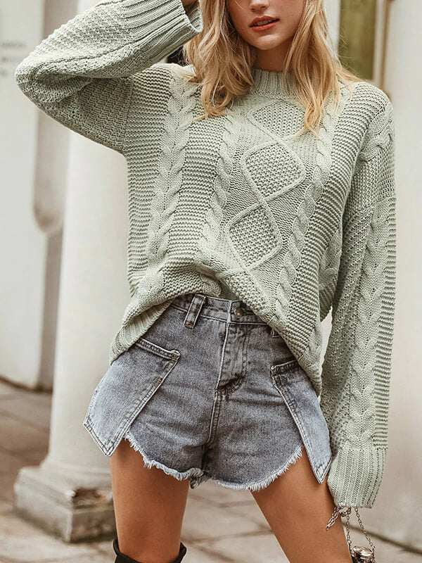 Long Sleeve Autumn Sweater Women Thick Winter Green Pullover Vintage Casual Oversized Jumper Streetwear Sweater Sueter