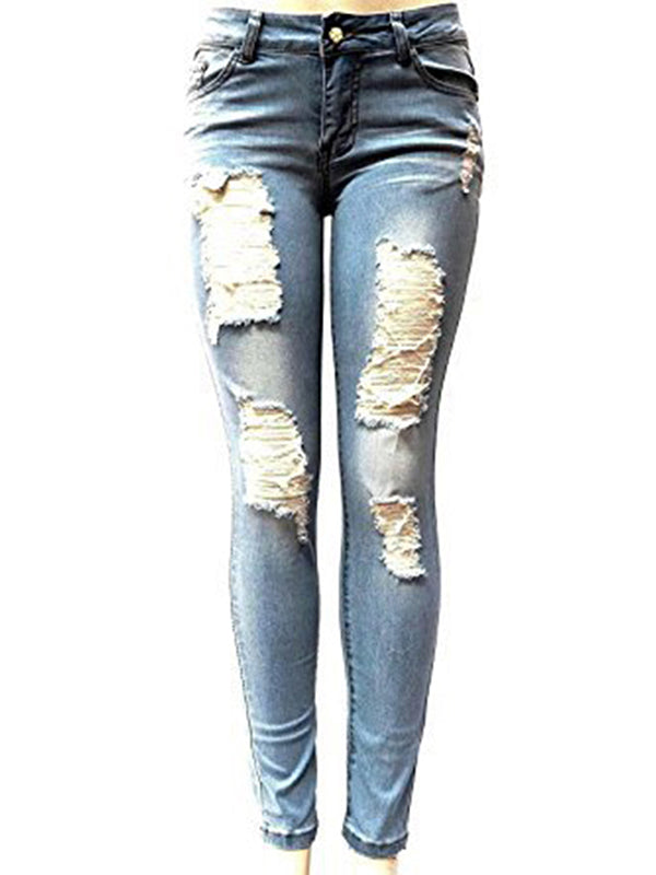 Women's Denim Ripped Skinny Jeans Pants