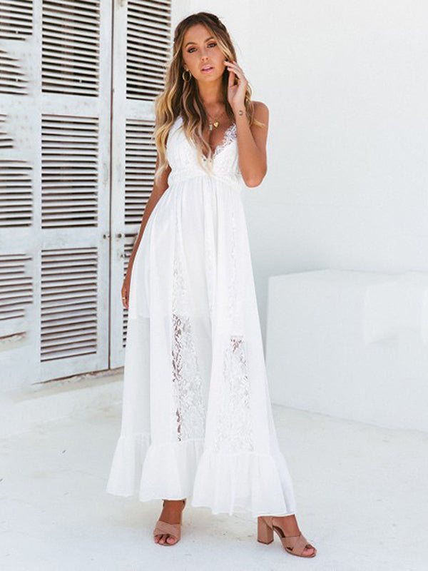 Summer Boho Lace V neck Lace Sleeveless Backless Elegant Long Evening Party Beach Sundress Maxi Dresses