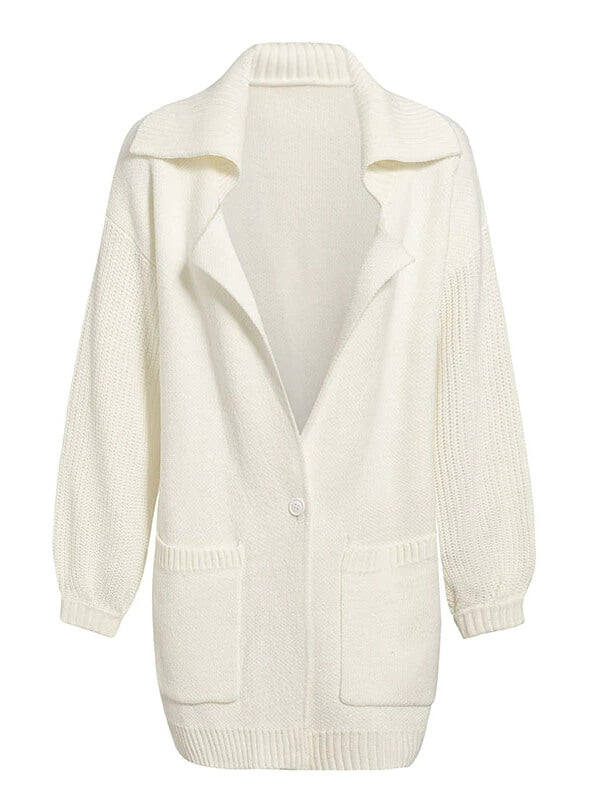 White Pocket Knitted Women Cardigans Long Button Sweater Cardigans Turn Down Collar Oversize Retro Long Sleeve Cardigan