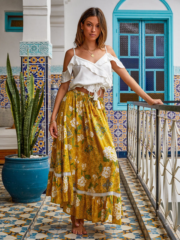 Kivari Saffron Bloom Maxi Skirt