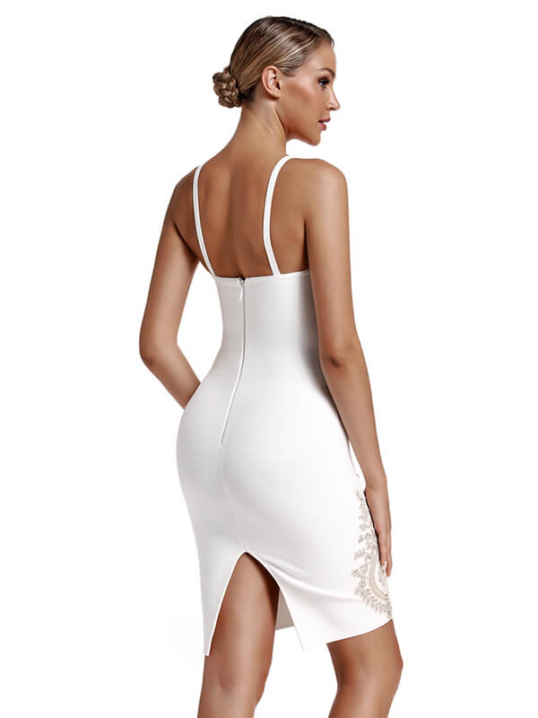 Sexy Woman Bandage Dress Summer Embroidered Flower Bandage Dress White Celebrity Bodycon Party Dress
