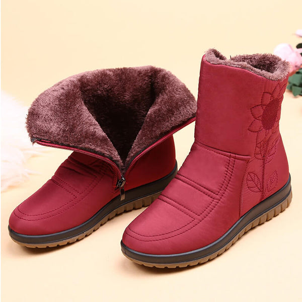 Snow Boots Ladies Waterproof Warm Ankle Boots Wedges Platform Plush Shoes Female Botas Mujer Zapatos Embroider Boot