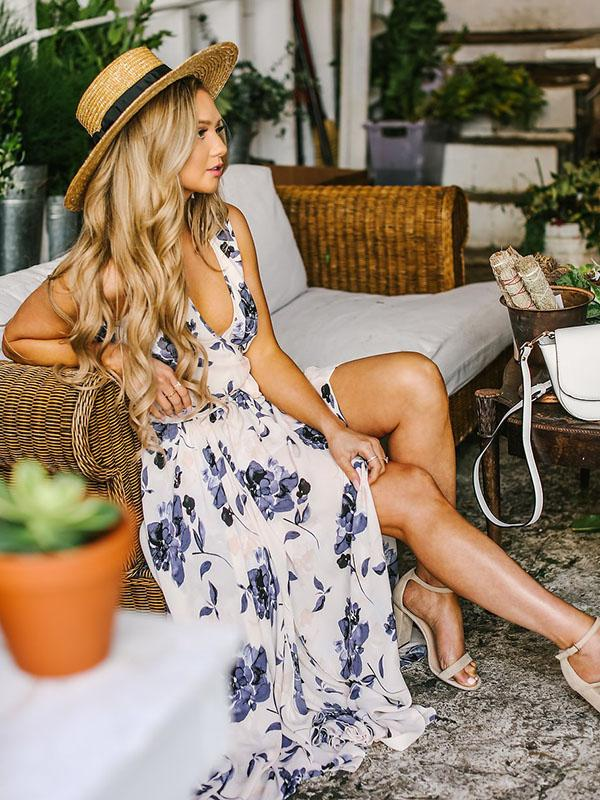 Bohemia Floral Sleeveless Waisted Maxi Dress