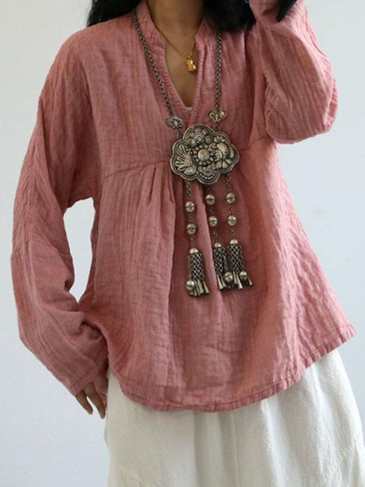 Linen Cotton V-neck Fold Blouse