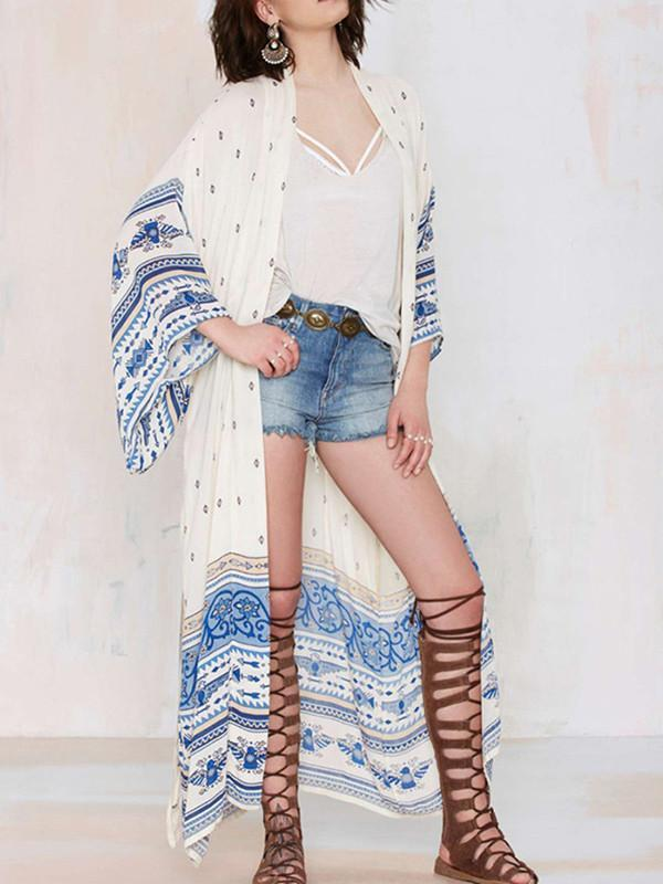 Pretty White Long Sleeve Long Cover-up Outwear