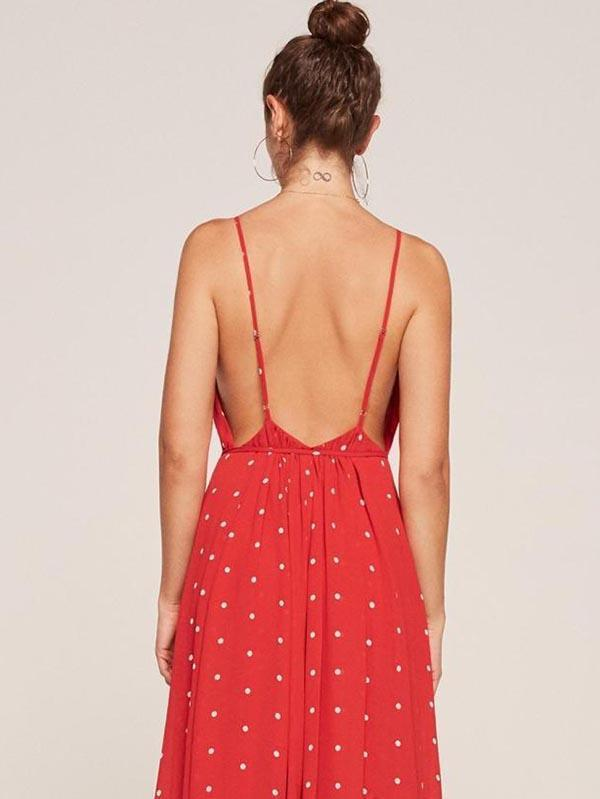 Polka-dot Split-side Condole Belted Dress