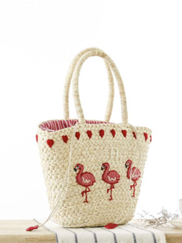Embroidered Straw Plaited Article Bohemia Bag