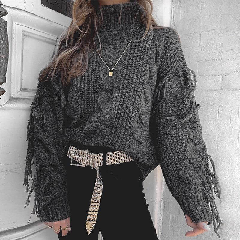 Tassel White Winter Sweater Casual Loose Chic Jumper Grey Turtleneck Autumn Pullover Oversize Sweater Mujer