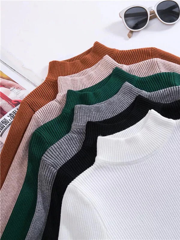 Autumn Turtleneck Pullovers Sweaters Primer Shirt Long Sleeve Short Korean Slim Fit Tight Sweater