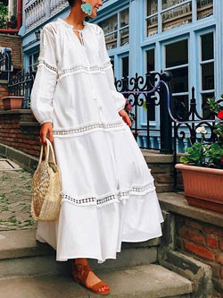 Lace Split-joint Puff Long Sleeves Maxi Dress