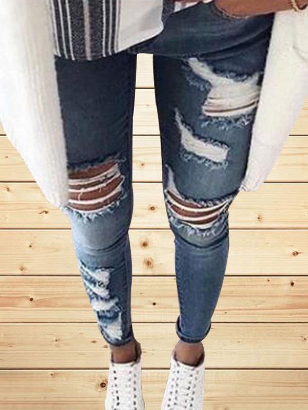 New Ripped Small Leg Jeans for Women