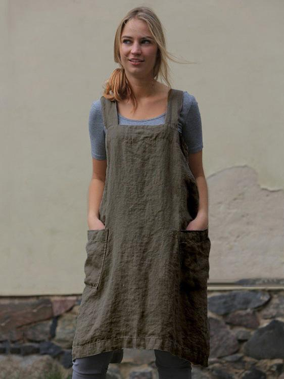 Linen Loose Pocket-with Simple Mini Dresses