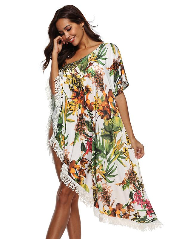 Fashion Tassels Off-the-shoulder Cover-Ups Swimwear