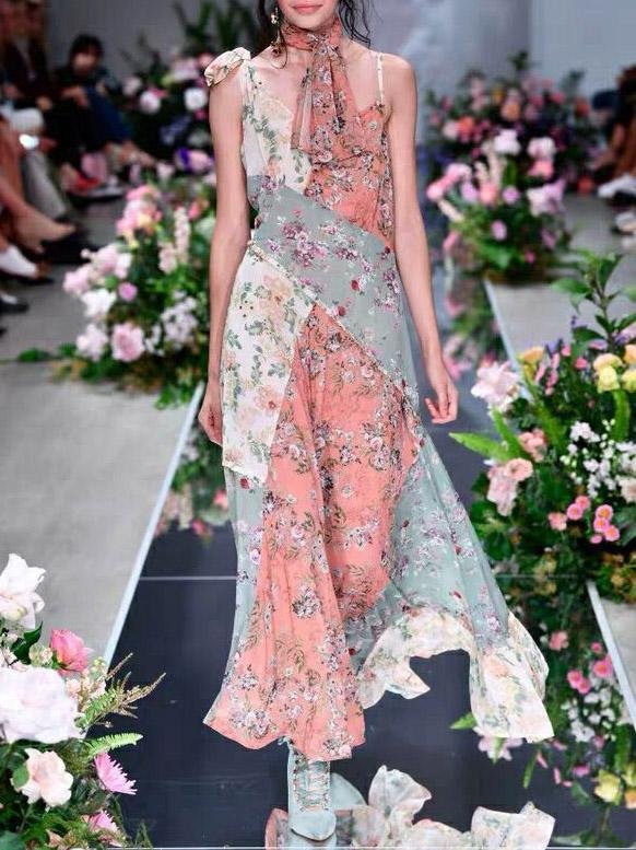 Bohemia Split-joint Floral Cropped Maxi Dresses