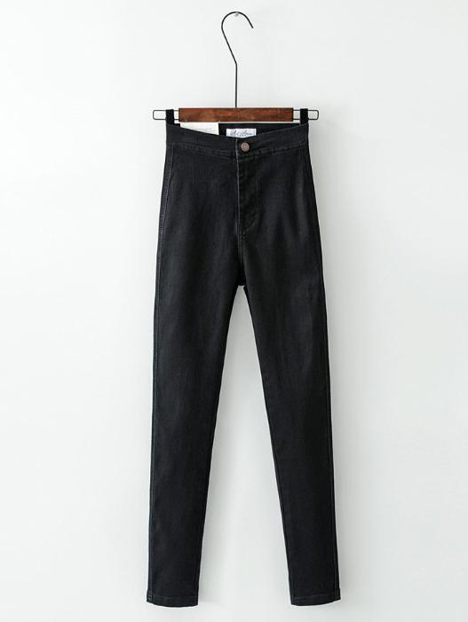High-Rise Black Stretchy Casual Skinny Leg Pants