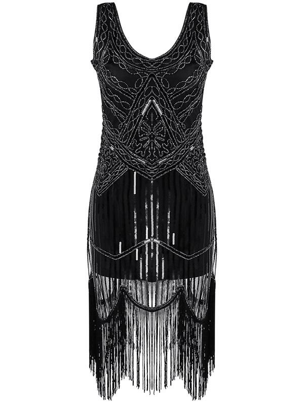 Black Fringed Evening Dress