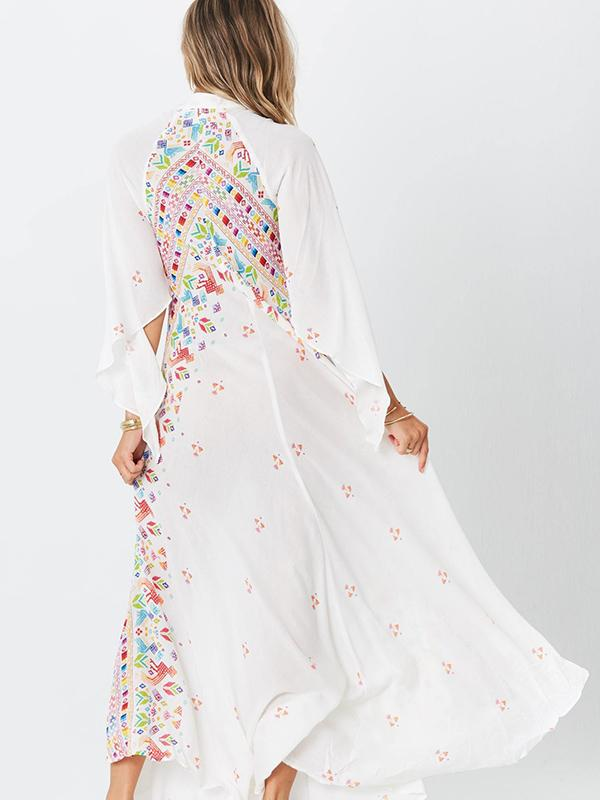 Bohemia 3\/4 Sleeve V-Neck Floral Maxi Dress