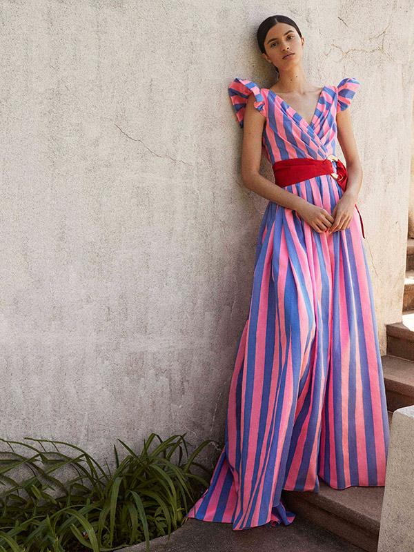 Cape Sleeves Striped Belted Maxi Dress