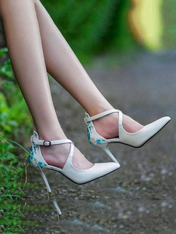 Beautiful Embroidered Floral High Heels