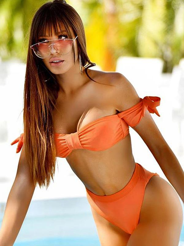 Orange Bowknot Strapless Bikinis Swimwear