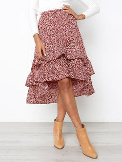 Printed Cropped Falbala Skirt Bottom
