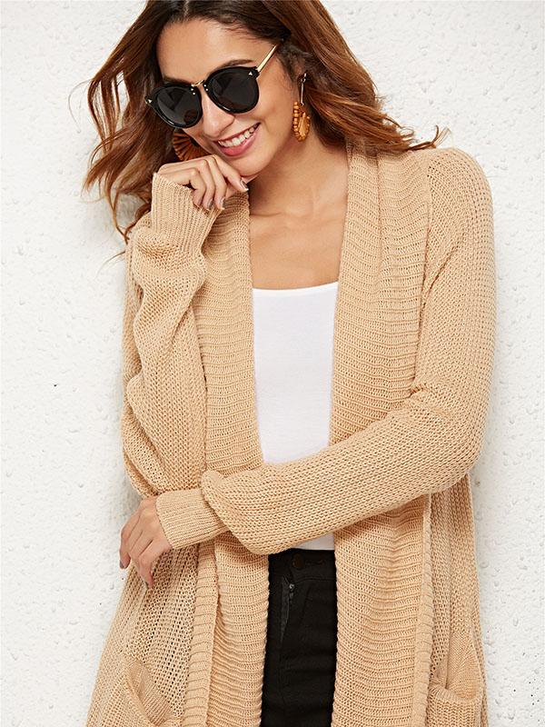 Knitting Long Sleeves Apricot Cardigans Tops
