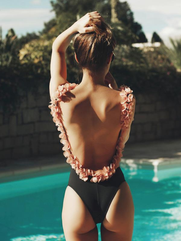 Flower-strap Backless Sexy One-piece Swimwear