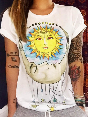 Sun Picture Printed White T-shirt