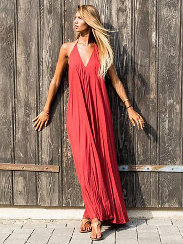 Red Backless Halter-neck Maxi Dress