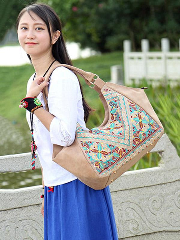 Retro Emboridered Tote Bag