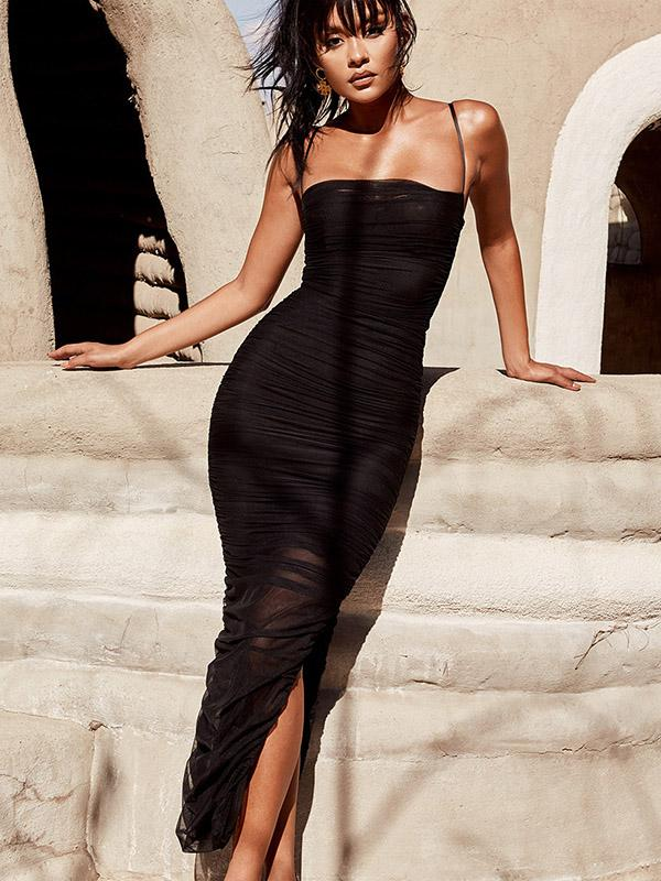 Pleated With a Slit Maxi Dresses