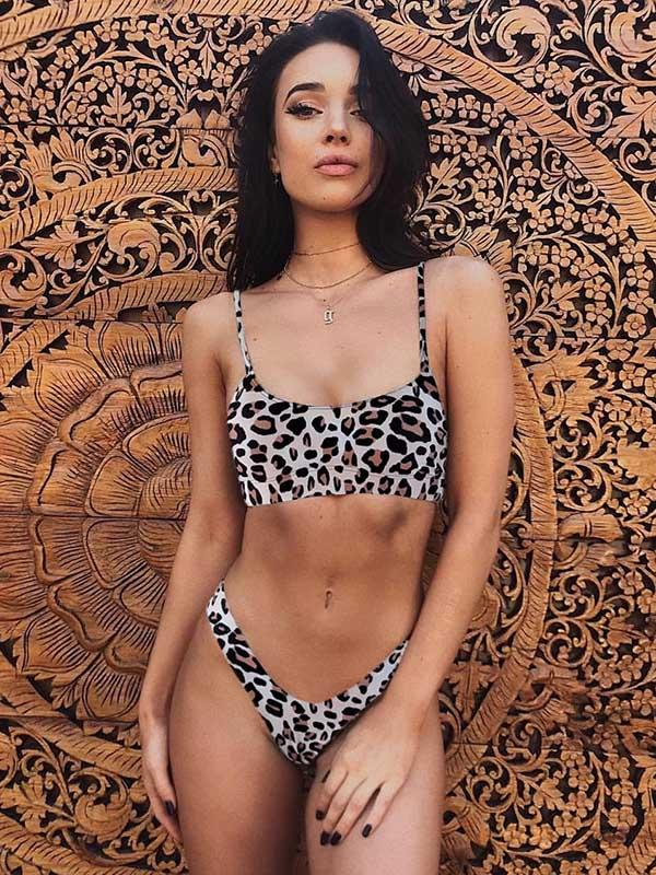 Leopard Plunge Neck Top With Panty Bikini Set