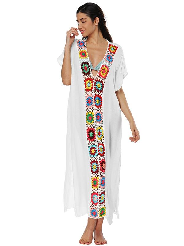 Deep V-neck Embroidered Split-joint Beach Maxi Dresses