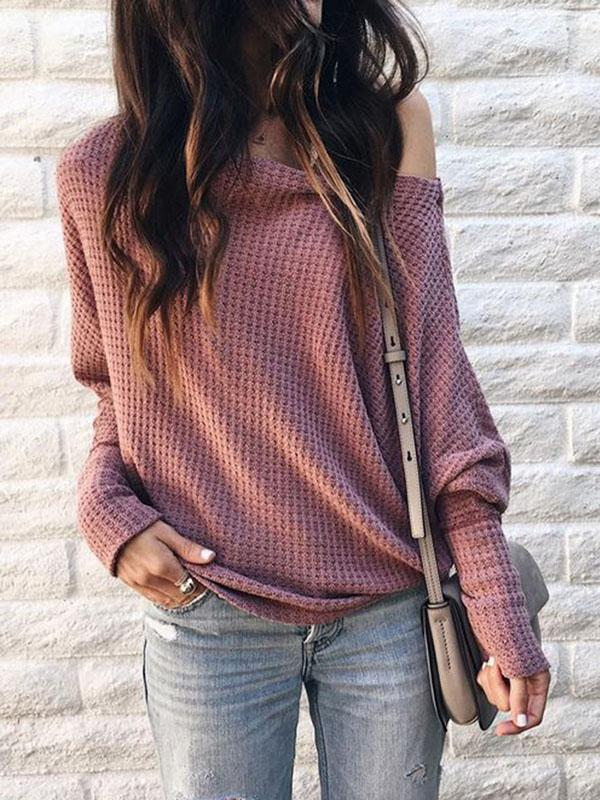 Fashion Solid Color Long Sleeves Sweater Tops