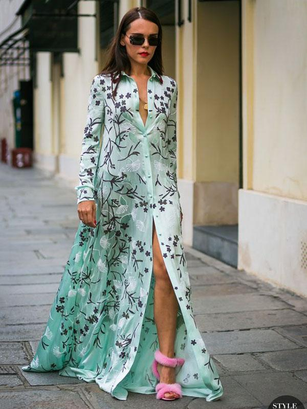 Bohemia Printed Long Sleeves Shirtdress